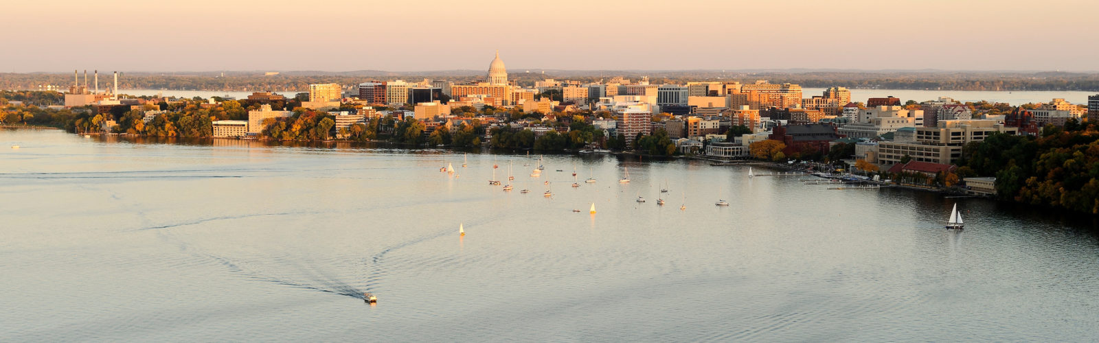 The Wisconsin State Capitol dots the downtown Madison skyline